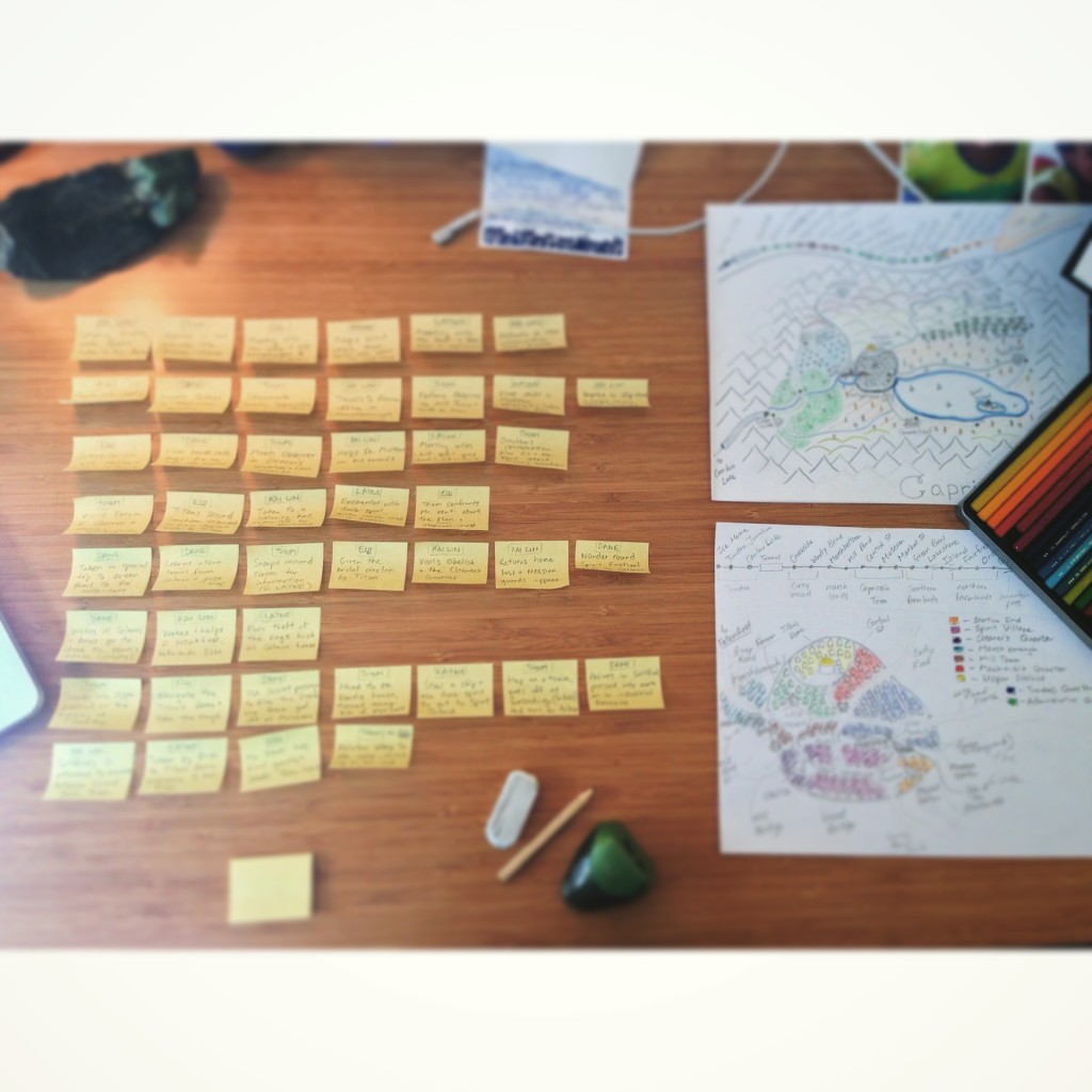 The sticky notes that I used to plot out my novel