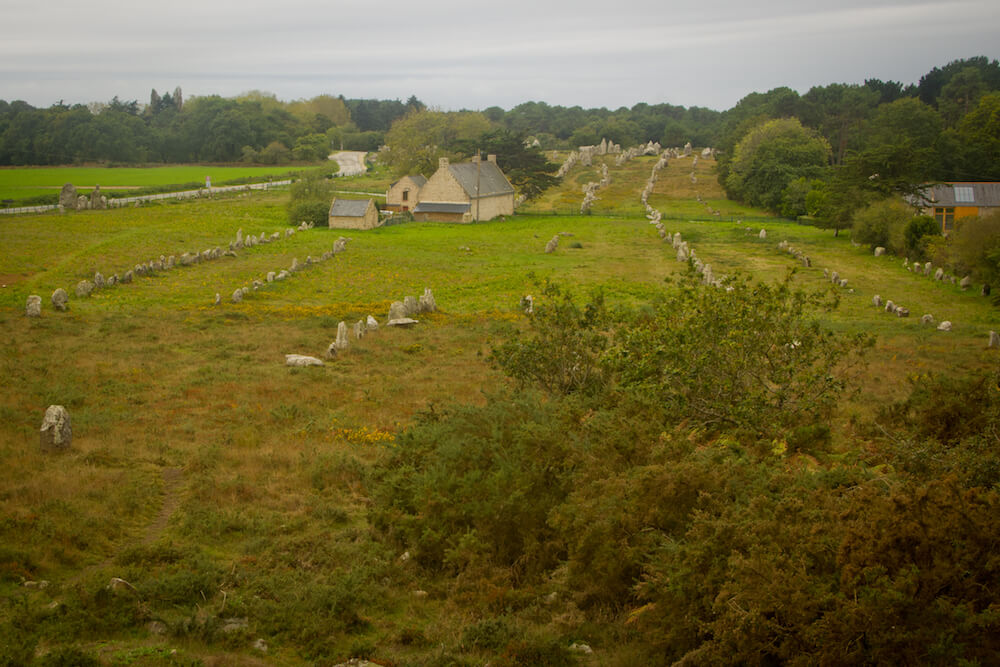 Elevated view of Les Alignements de Carnac menhirs