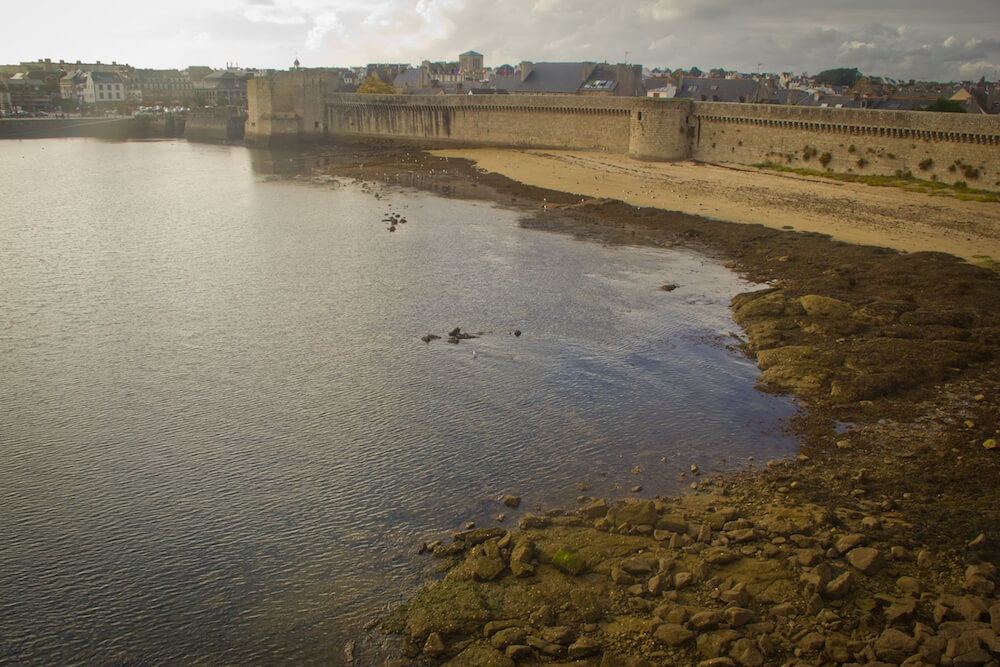Shot of Walled City of Concarneau and harbour from the walls